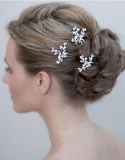 3XPCs Handmade Bridal Prom Crystal Pearl Side Tiara, Hair Comb,Hair Pin Weddings