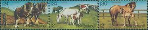 New-Zealand-1984-SG1345-1347-Health-Horses-set-MNH