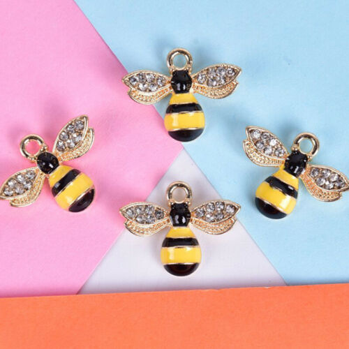 10Pcs//Set Enamel Crystal Honeybee Charms Pendant Jewelry DIY Making Craft G/_sh