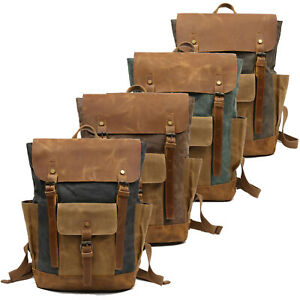 Men-Real-Leather-Waxed-Canvas-Rucksack-Backpack-Travel-Office-15-034-Laptop-Daypack