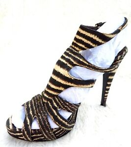 Brown-amp-Cream-Striped-Open-High-Stiletto-Heel-Sandals-Cage-Shoes-8-41