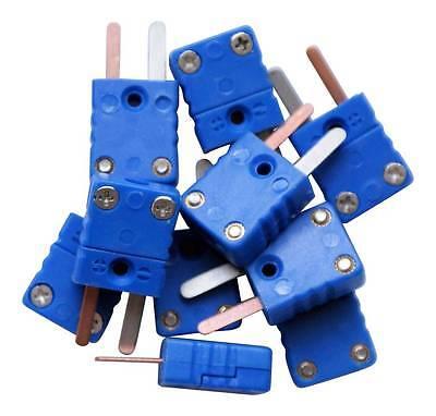 flat pins plug 10 x T type thermocouple male mini connectors blue