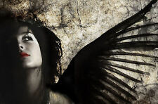 Framed Print - Gothic Angel with Black Wings & Red Lips (Picture Poster Art)