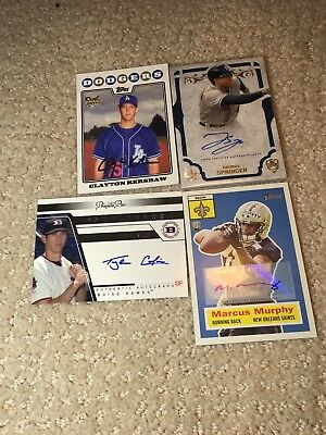480+ Football And Baseball Cards. Includes Clayton Kershaw Signed Card+3 Others!