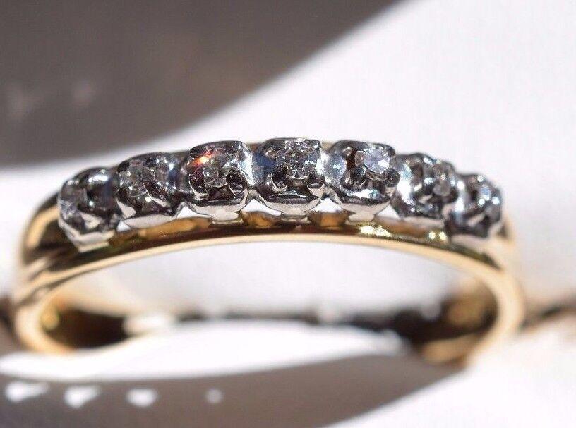 18ct Yellow gold & Diamond (7) stone ring