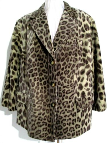 katie Talbots Jacket Swing Leopard Fit Coat etichette 22w Print Nuovo Retro con rpvwBrqcRW