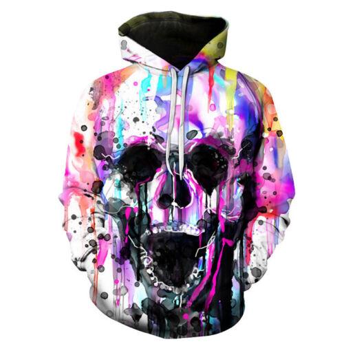 New Fashion Skull 3D Sweatshirt Hoodies Unisex Casual Pullover Jumper Tops S-5XL