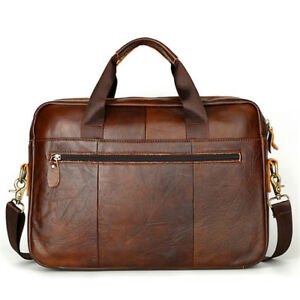 Men-039-s-Retro-Genuine-Leather-Business-Tote-Briefcase-Messenger-Shoulder-Bag-New