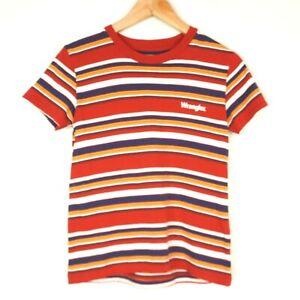 Wrangler Striped Womens Short Sleeve T-Shirt Size 6 Red Single Stitch