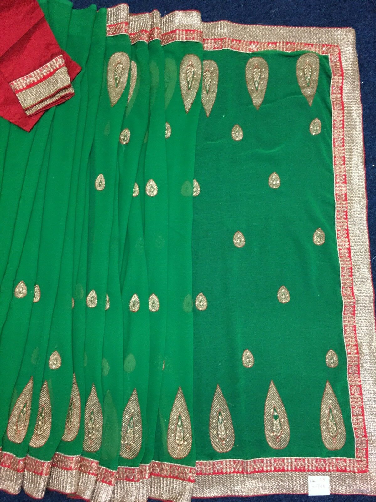 Indian Bollywood Green Saree With Beautiful  Embroidered Work Party Wear