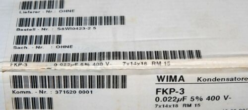 10pcs 0.022µF 22nF 400V 5/% pitch:15mm Capacitor WIMA FKP3 0.022uF