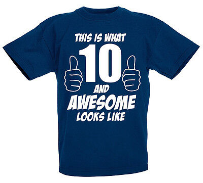10 And Awesome 10th Birthday Gift T Shirt For 10 Year Old Boys Gift Ideas Ebay