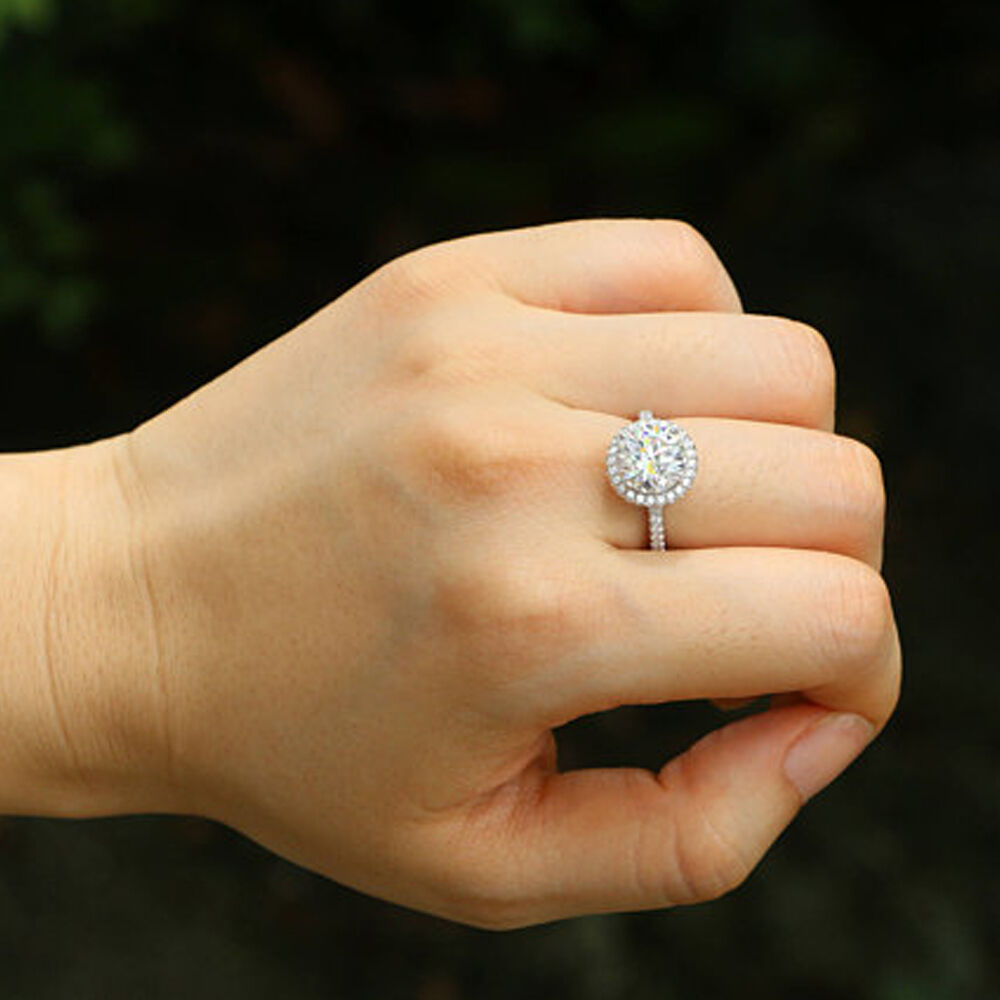 2.40 Ct Diamond Wedding Engagement Ring White gold 14K Solitaire Ring Size 6.5 7