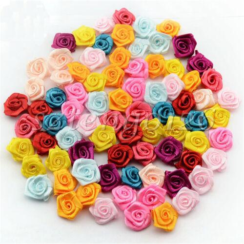 100pcs Satin Ribbon Bows Rose Flowers Wedding Xmas Appliques Deco Craft 11Colors