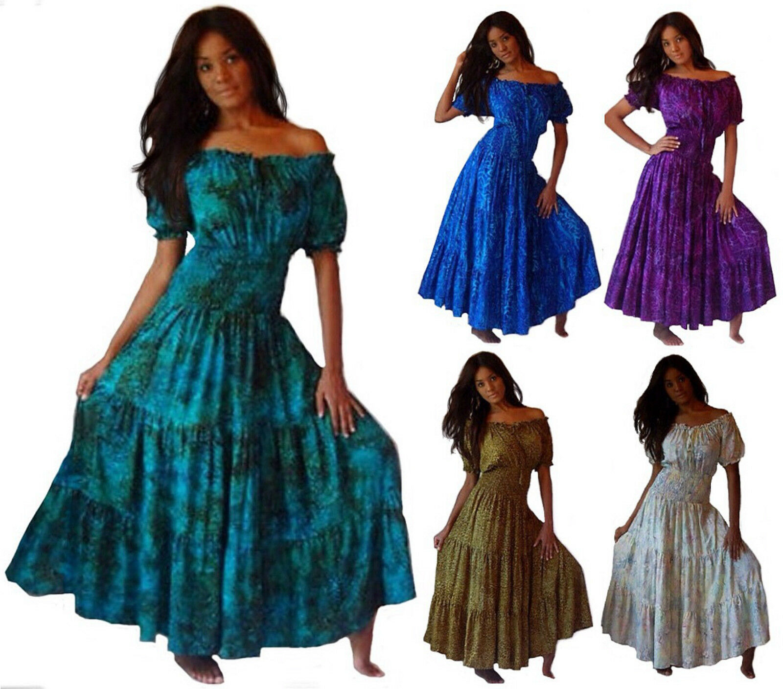 Women's dress Bohemian style Mexican tiered skirt Plus Sizes LotusTraders U736