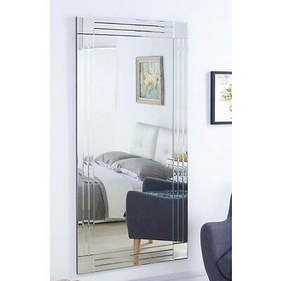 Large Wall Mirror Silver Triple Bevelled Frame Full Length 5FT7 x 2FT8 174x85cm