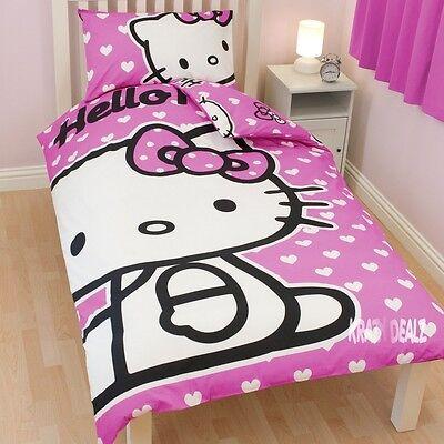 Hello Kitty Corazones Solo PANEL duvet cover bed Set Regalo Nuevo Rosa