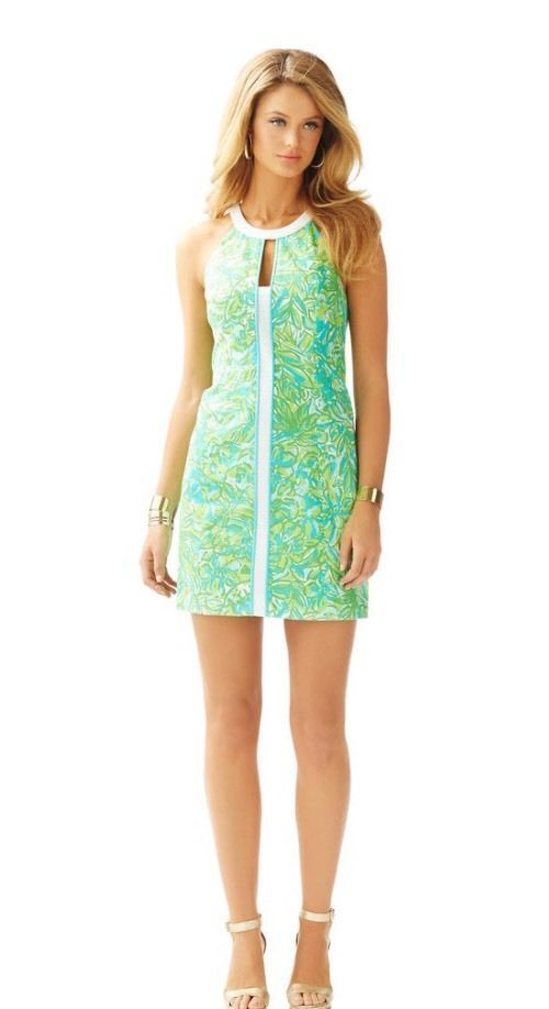 Lilly Lilly Lilly Pulitzer Pearl Shift Dress Fresh Citrus Green Parred Size 4  198 93aeba