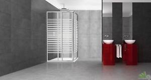 Box doccia parete angolare cristallo trasparente serigrafato mm.3 cm