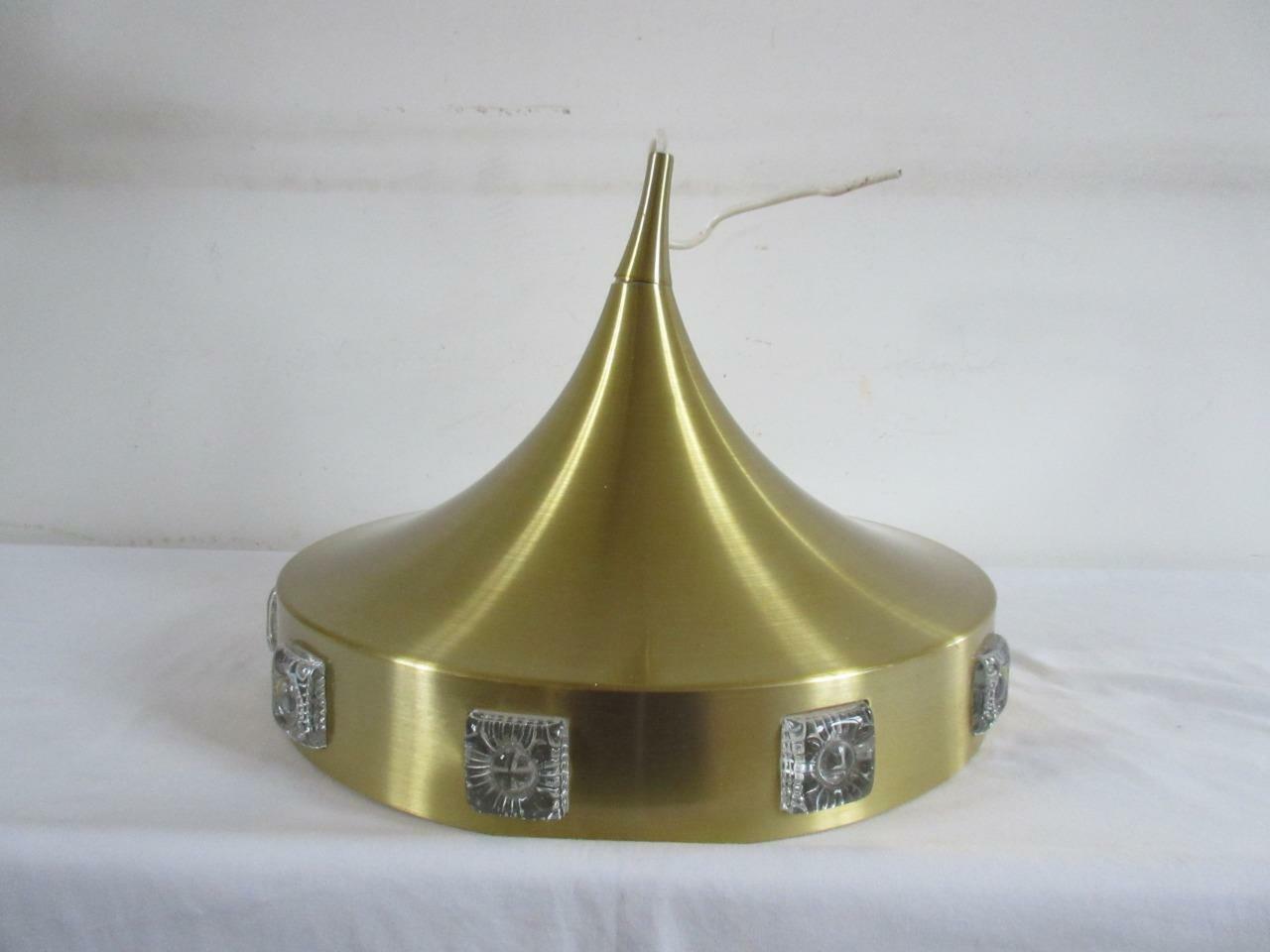SUPER VINTAGE RETRO 60'S 70'S Gold METAL ' UFO ' STYLE CEILING LIGHT