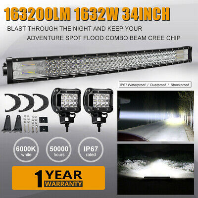 "32/""INCH 1632W LED Work LIGHT BAR Spot Flood Offroad Truck SUV ATV PK 30/"" 34/"" 36/"""