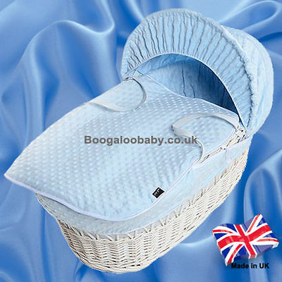 Soft Baby Blue Dimple Replacement Moses Basket Dressing Bedding Covers + Rods