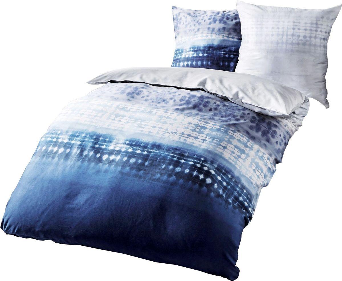 Fein Biber Bettwäsche 240x220cm Embrace Blau Silber Weiß Kaeppel