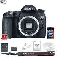 Canon EOS 70D 20MP Digital SLR Camera Body w/ Screen Protector Bundle
