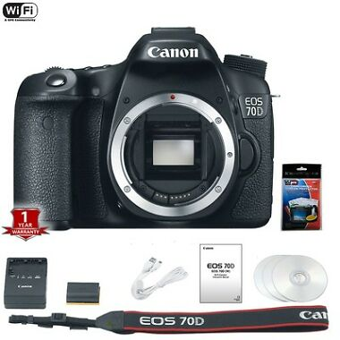 Canon EOS 70D 20MP DSLR Camera Body Bundle