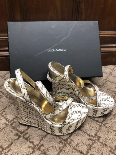 Authentic DOLCE AND GABBANA Snakeskin Strappy Wedg