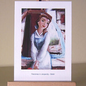 Oil-painting-style-WDCC-Belle-drawing-as-Beauty-and-the-Beast-ACEO