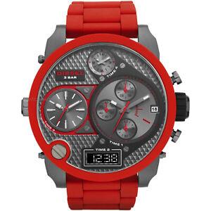 Wristwatches-DIE-SEL-DZ7279-MR-DADDY-RED-SILICONE-GUNMETAL-4-TIME-MEN-039-S-WATCH