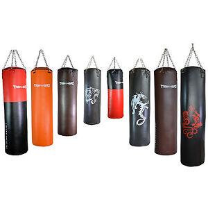 Boxsack-Sandsack-mit-Kette-gefuellt-Gewicht-25-bis-36-kg-Laenge-80-bis-130cm