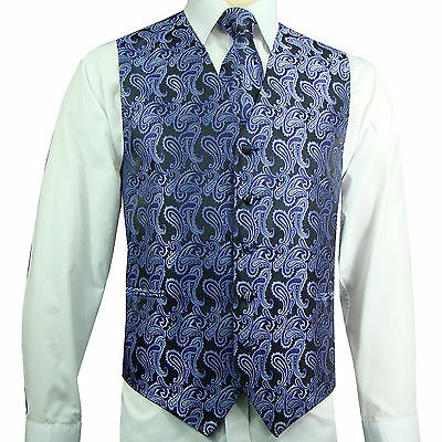 BLACK GOLD XS to 6XL Paisley Tuxedo Suit Dress Vest Waistcoat /& Neck tie wedding
