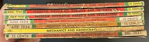 LOT OF 7 VTG 1933 1934 1937 MODERN MECHANIX Magazines