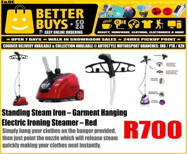 Standing Steam Iron – Garment Hanging Electric Ironing Steamer Red