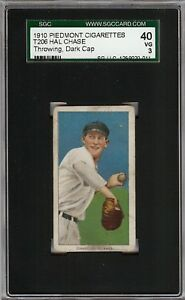 1909-11 T206 Hal Chase Throwing Black Cap Piedmont 350 New York SGC 40 / 3 VG