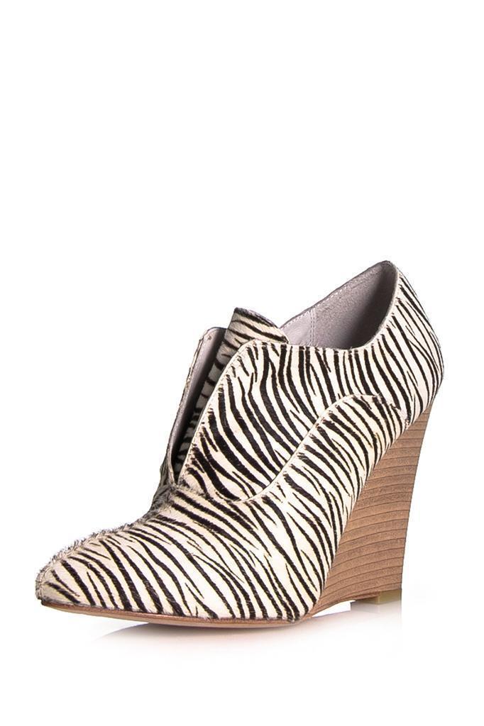 Plomo Rose rose Wedge Pump démarrageie Zebra Pony noir blanc blanc blanc heels NEW démarrage 34997f