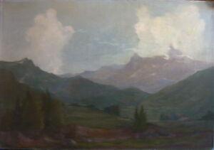 Carl-Dorrbecker-1894-Alpi-Piano-Principale-Liberty-Firmato-Nebbia-Im