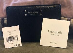New-Kate-Spade-New-York-Jeanne-Medium-Slim-Bifold-wallet-Leather-Black-001