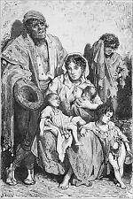 ESPAGNE (ANDALOUSIE): FAMILLE de MENDIANTS à JAEN -Gravure 19e (Gustave Doré)