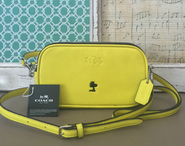 9bb1cfb64 COACH X PEANUTS WOODSTOCK CROSSBODY PURSE LEATHER YELLOW LIMITED EDITION NWT
