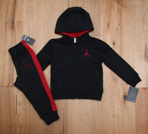 d5e3a264ea76 Air Jordan Toddler Boy 2 Piece Hooded Jogging Set ~ Black   Red ~