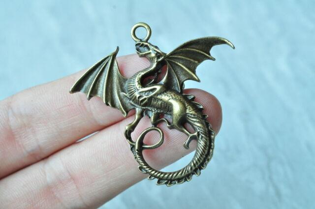 8pcs Antique Bronze Dragon Charm Pendant Steampunk Necklace Craft Steampunk