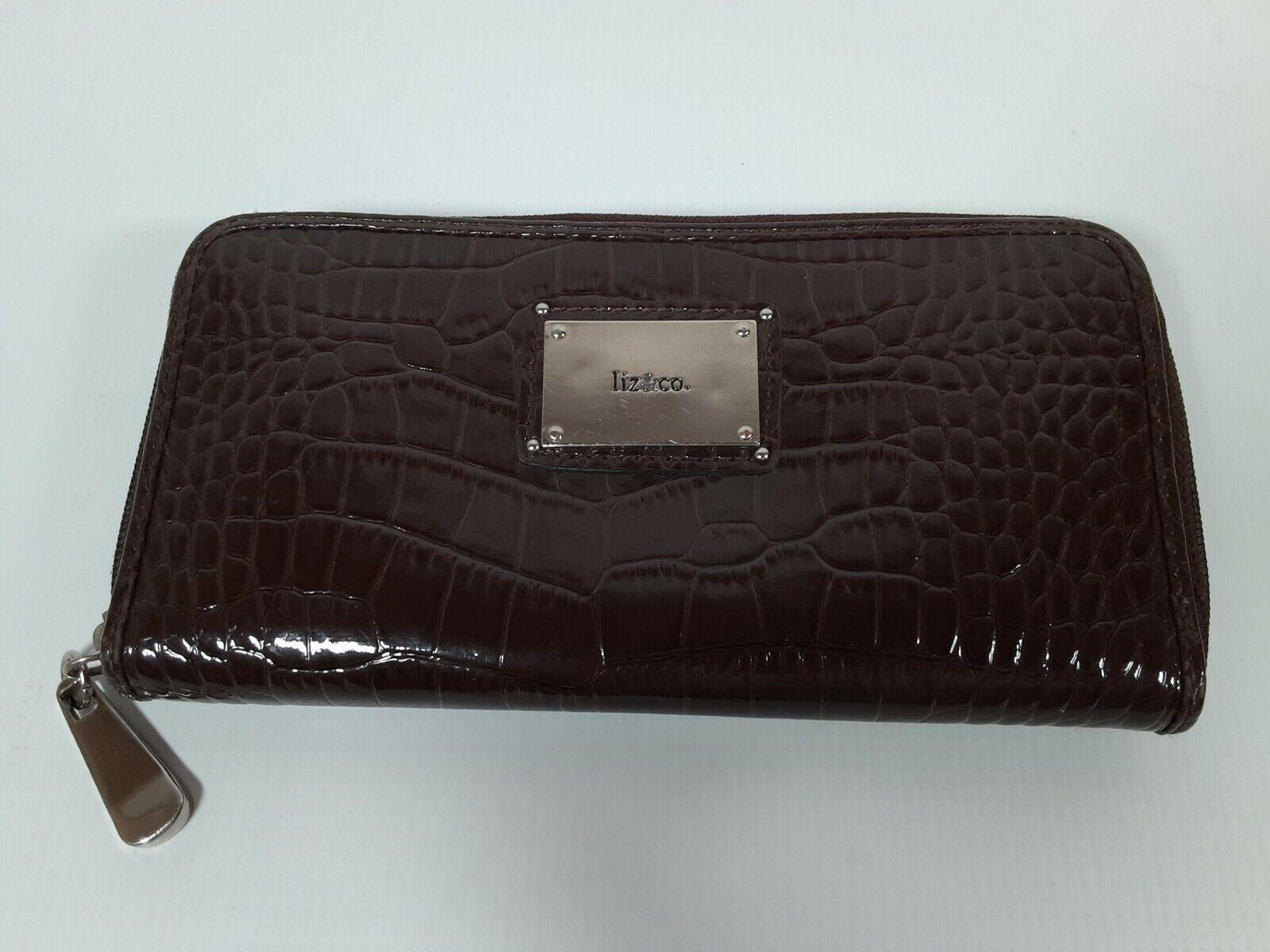 Liz & Co Brown PVC Zippered Wallet, Card Holder, Coin Purse, Checkbook Holder