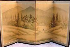Japanese Yonkyoku Byobu Gold Leaf Folding Screen - River and Country Landscape