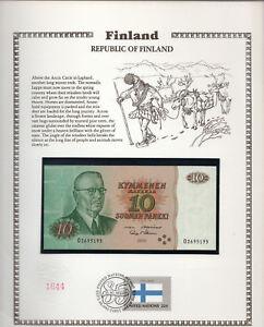 Finland 10 Markkaa 1980 P 111a.39 UNC w/FDI UN FLAG STAMP Alenius - Makinen