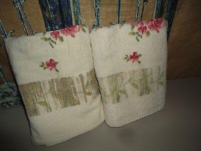 VINTAGE CANNON VINTAGE FLORAL TUSCAN ROSES PINK CREAM (2PC) BATH TOWEL 27 X 46