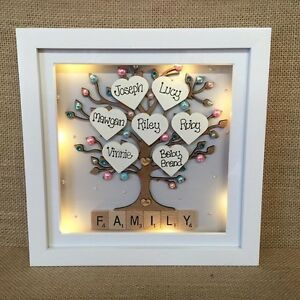 Personalised Led Light 3d Deep Box Frame Family Tree Scrabble