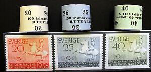 1956-Melbourne-Olympic-Games-Sweden-Original-Gummed-Stamp-Rolls-x3-MNH
